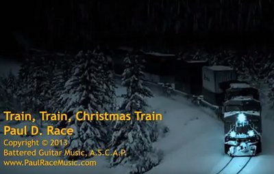 The title graphic for Paul's song 'Train, Train, Christmas Train'