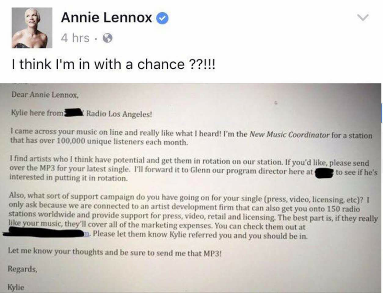 Annie Lennox is Spammed by the Fake Radio Station Scammer.