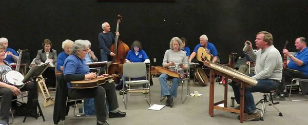 Members of the Springfield Dulcimer Club, who also played most of the evening. Click for bigger photo.