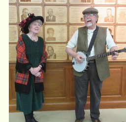 Paul Race and Tess Hoffman singing in the Clark County Historical Center.  Click for biggerphoto.